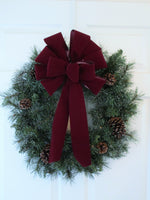 "12"" BURGUNDY UNWIRED Velvet Christmas Bows - Indoor/Outdoor - Wreath Ribbons Holiday"