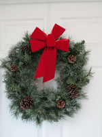 "Medium 7-8"" UNWIRED Hand Made BRIGHT RED Velvet Christmas Bows - Indoor/Outdoor - Wreath Ribbons Holiday - Bow"