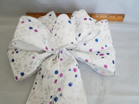 "Set of 2 Large 10"" Hand Made Wired White, Pink and Blue Bows - Indoor or Outdoor - Wreath Ribbons Holiday - Bow"