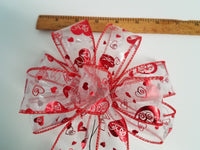 "Small 5-6"" Hand Made Wired Red Heart Sheer Bows - MAKYA"