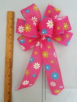 "Small 5-6"" Pink Bow with White, Blue and Yellow Flowers"
