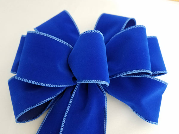 Wired Blue Velvet Christmas Bow
