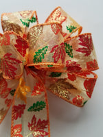 "Small 5-6"" Hand Made Autumn Leaf Bows - Indoor/Outdoor - Wreath Ribbons Thanksgiving Halloween Fall"