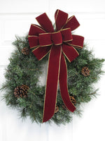 "12"" BURGUNDY with GOLD Wired Edge Velvet Christmas Bows - Indoor/Outdoor - Wreath Ribbons Holiday"