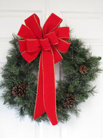 "12"" RED with GOLD Wired Edge Velvet Christmas Bows XL- Indoor/Outdoor - Wreath Ribbons Holiday"