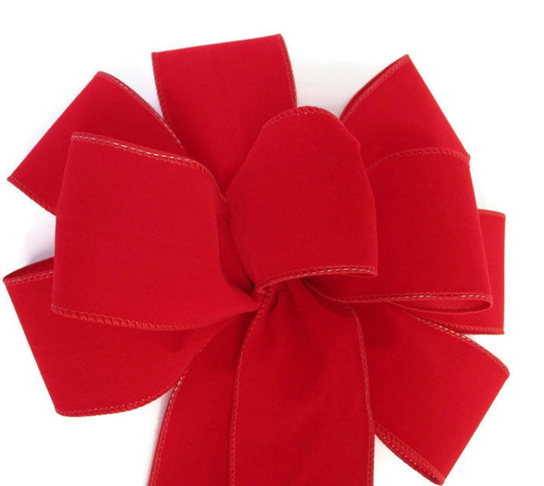 "Large 10"" Hand Made WIRED RED Velvet Christmas Bows - Indoor/Outdoor - Wreath Ribbons Holiday"