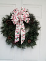 "Large 9-10"" Hand Made JOY Christmas Bow - Indoor/Outdoor, red white silver"