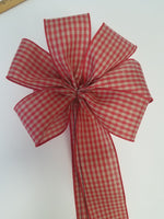 "Large 10"" Natural Red Gingham Check Bow"
