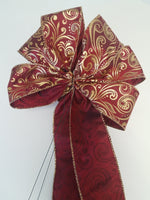 "Large 9-10"" Hand Made Burgundy & Gold Swirl Christmas Bows - Indoor/Outdoor - Wreath Ribbons Holiday Deep Red"