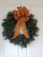"Large 10"" Hand Made Wired Orange & Yellow Plaid Autumn Bows"
