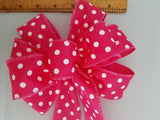 "Small 5-6"" Hand Made Pink and White Polka Dot Bow"
