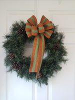 "Large 10"" Hand Made Wired Burnt Orange & Green Stripe Autumn Bows"