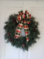 "Large 9-10"" Hand Made Wired Red, Blue & Green Plaid Christmas Bow"