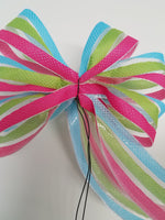 "Small 5-6"" Hand Made Pink, Green and Blue Stripe Bow"