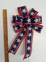 "Small 5-6"" Hand Made Wired Red, Natural & Blue Bows - FREEDOM White"