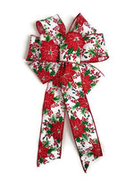 "Large 10"" Hand Made Red Poinsettia Christmas Bows - Indoor or Outdoor - Wreath Ribbons Holiday - Bow"