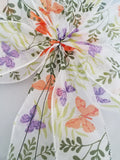 "Large 10"" Hand Made Wired Orange and Purple Butterfly Sheer Bow"