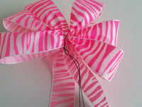 "Small 5-6"" Neon Pink and Crystal Zebra Striped Bow - Glittered"