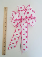 "Small 5-6"" Wired Pink & White Polka Dot Bow"