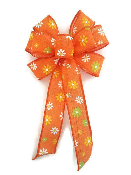 "Small 5-6"" Hand Made Wired Orange Daisy Bow"