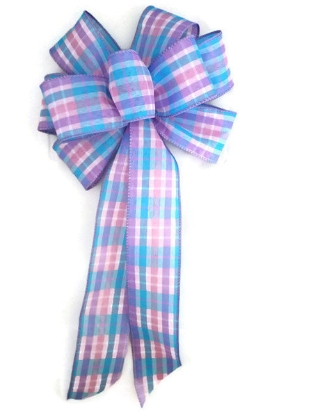 "Large 10"" Hand Made Wired Pink, Purple and Blue Plaid Bows - Indoor or Outdoor - Wreath Ribbons Holiday - Bow"
