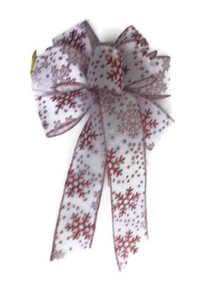 "Large 10"" Hand Made White & Red Snowflake Christmas Bows - Indoor/Outdoor - Wreath Ribbons Holiday - Snowdust"