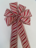 "Large 9-10"" Natural Red Peppermint Swirl Christmas Bow"