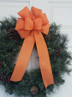 "Large 10"" Hand Made Wired Orange Linen Autumn Bows"