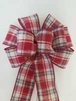 "Large 9-10"" Hand Made Red & White Plaid Christmas Bow"