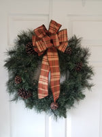 "Large 10"" Hand Made Wired Brown Plaid Autumn Bows"