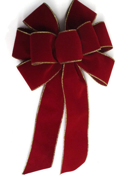 "Large 9-10"" BRICK RED Velvet and Gold Wired Christmas Bows - Indoor/Outdoor - Wreath Ribbons Holiday"