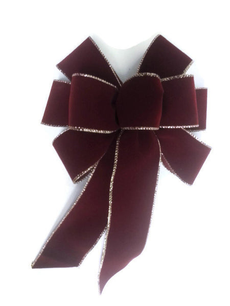 "Large 9-10"" Hand Made Burgundy Velvet and Gold Wired Christmas Bows - Indoor/Outdoor - Wreath Ribbons Holiday - Deep Red Burgundy"