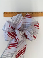 "Small 5-6"" Hand Made Silver & Red Striped Holiday Bows - Indoor/Outdoor - Wreath"