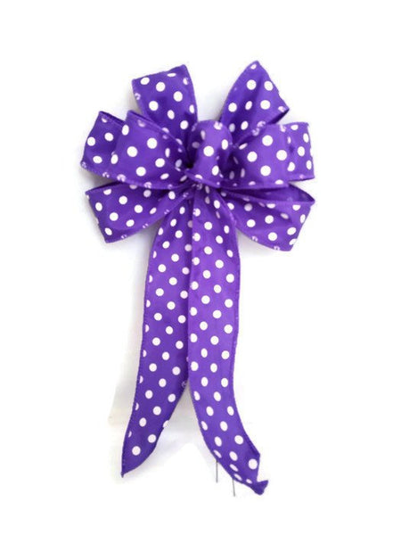 "Small 5-6"" Hand Made Purple and White Polka Dot Bow"