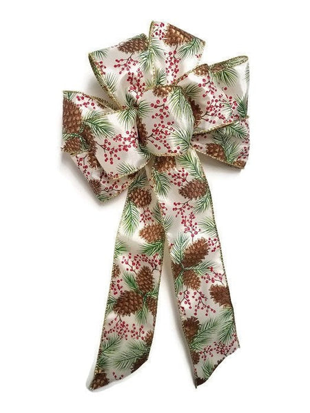 "Large 9-10"" Pine Cone and Berry Christmas Bow Outdoor"