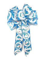 "Large 9-10"" Hand Made Blue Snowman Christmas Bows - Indoor/Outdoor - Wreath Ribbons Holiday Winter Snowmen"