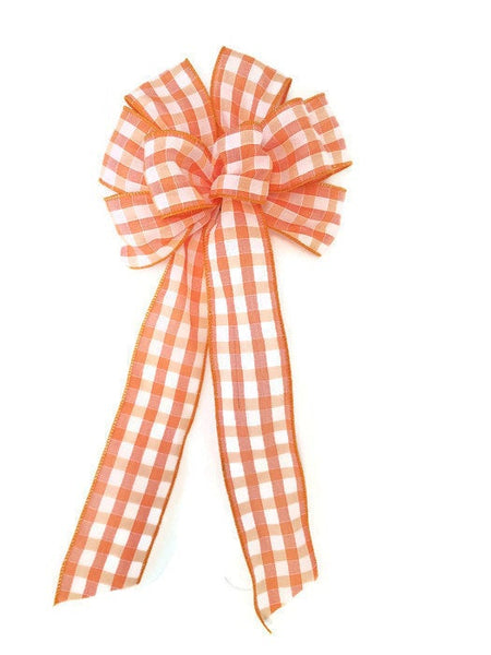 "Large 10"" Hand Made Wired Orange & White Check Plaid Autumn Bows"