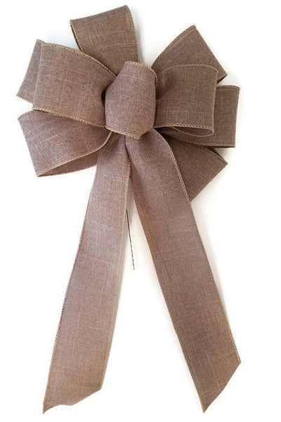 "Large 10"" Hand Made Wired Linen Bows Natural"