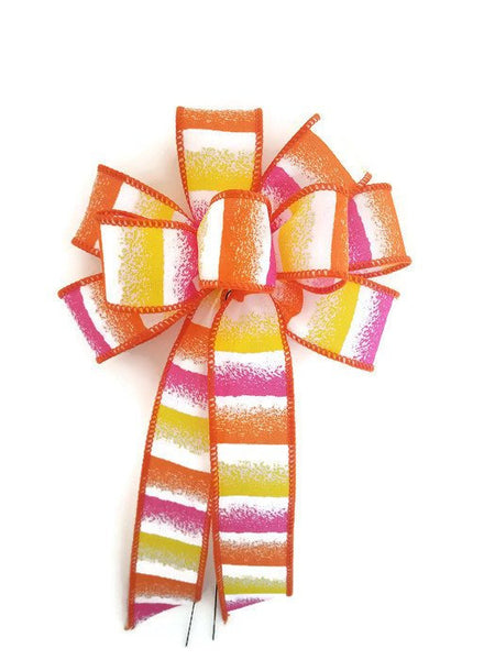 "Small 5-6"" Hand Made Wired Pink, Orange & Yellow Stripe Bows"