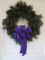 "Set of 4 Large 10"" Hand Made Wired Advent (3 blue or purple and 1 pink)  Christmas Bows - Indoor/Outdoor - Wreath Ribbons Holiday"