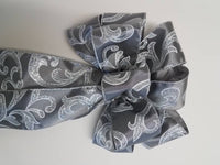 "Large 9-10"" Hand Made Silver Glitter Swirl Christmas Bow - Indoor/Outdoor - Wreath Ribbons Holiday"