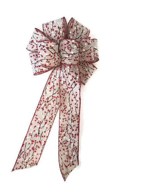 "Large 9-10"" Hand Made Natural Winterberry Christmas Bow - Indoor/Outdoor - Wreath Ribbons Holiday Deep Red"