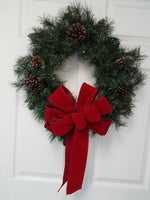 "Large 9-10"" Hand Made Wired BRICK RED Velvet Christmas Bows - Indoor/Outdoor - Wreath Ribbons Holida4"