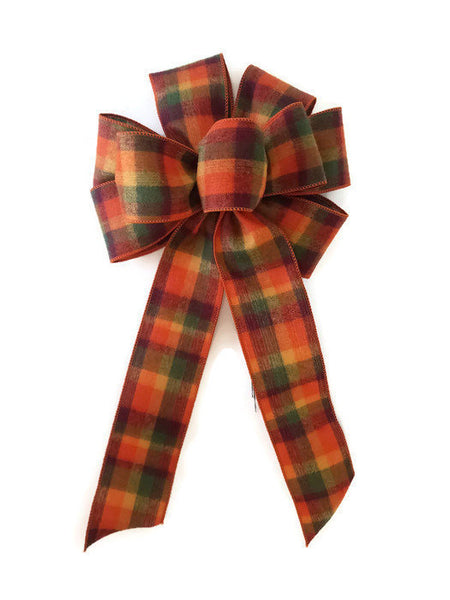 "Large 10"" Hand Made Wired Orange, Yellow and Green Flannel Plaid Autumn Bows"