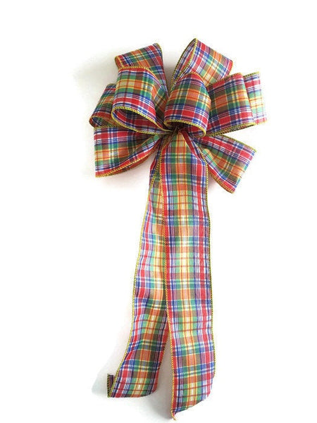 "Large 10"" Hand Made Wired Bright Colors Plaid Bow Red Blue Green Yellow"
