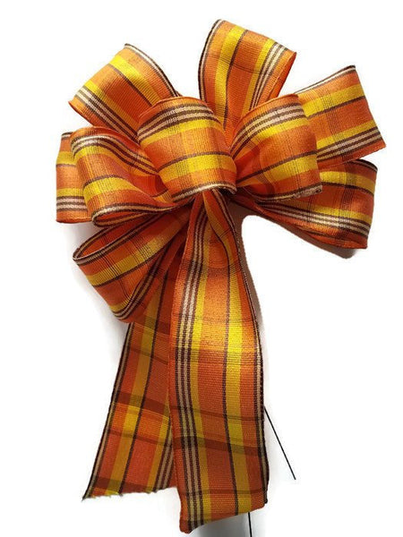 "Small 5-6"" Hand Made Orange and Yellow Plaid Bow"