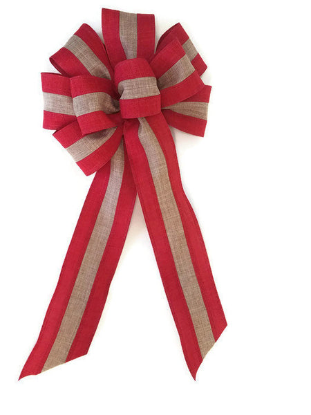 "10"" Red & Natural Stripe Linen Christmas Bow"