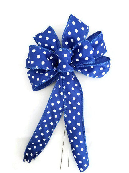 "Small 5-6"" Hand Made Blue and White Polka Dot Bow"