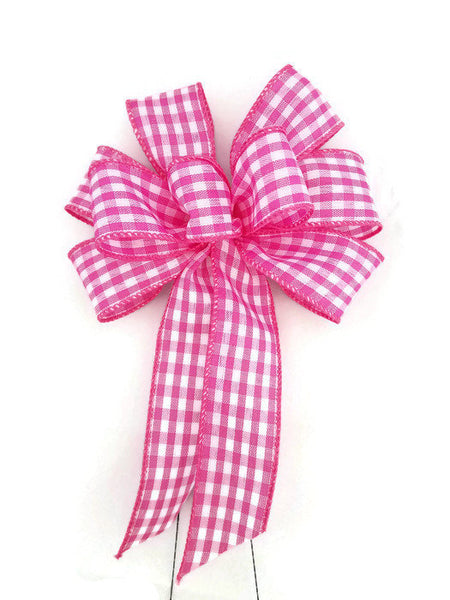 "Small 5-6"" Hand Made Pink and White Check Bow"