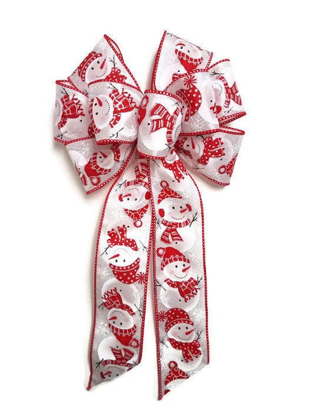 "Large 10"" Hand Made Red White Snowman Christmas Bows - Indoor or Outdoor - Wreath Ribbons Holiday - Bow"